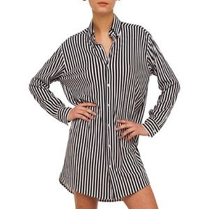 Norma Kamali Boyfriend Shirt Black White Stripe
